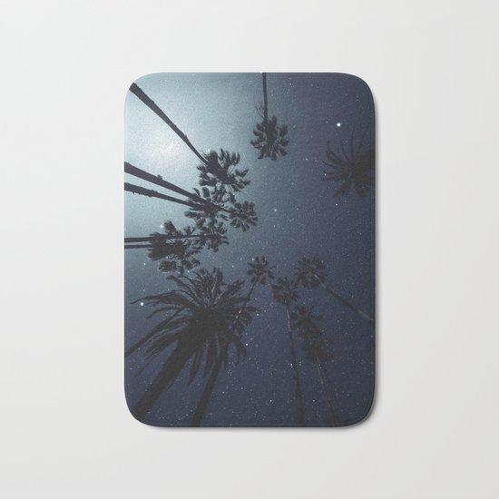 Palm Trees, Night Sky, Stars, Moon Bath Mat