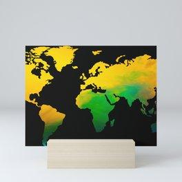 Yellow green World map Mini Art Print