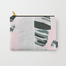 White Green Pastel Tropical Banana Leaves Design Carry-All Pouch