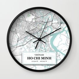 Ho Chi Minh, Vietnam City Map with GPS Coordinates Wall Clock