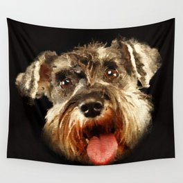 Miniature Schnauzer Portrait Watercolor Digital Art Wall Tapestry