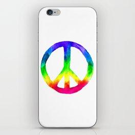 Rainbow Watercolor Peace Sign iPhone Skin