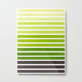 Watercolor Gouache Mid Century Modern Minimalist Colorful Sap Green Stripes Metal Print