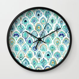 PEACOCK MERMAID Nautical Scales and Feathers Wall Clock