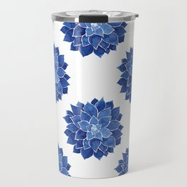 Indigo Succulent |  Watercolor Painting Travel Mug