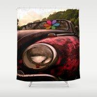 volkswagen Shower Curtains featuring Black & Pink Volkswagen Beetle by Kevin Westerman