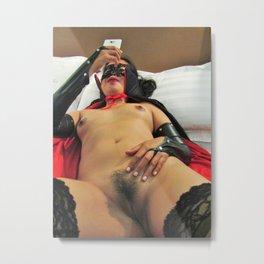 Vampire girl, texting in cosplay fetish nude pose Metal Print