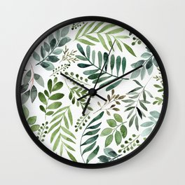 Botanical leaves -Watercolor   Wall Clock