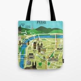 Prague map illustrated Tote Bag