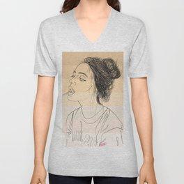 Simple Skintones Drawing of Woman Sucking Lollipop Unisex V-Neck