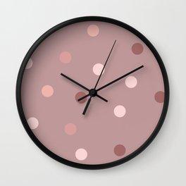 Rose-gold polka dots pattern Wall Clock