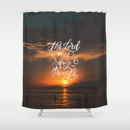 Refuge and Strength Shower Curtain