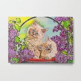 Cute Cat Colorfull Flowers Metal Print