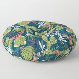Succulent Garden Navy Floor Pillow