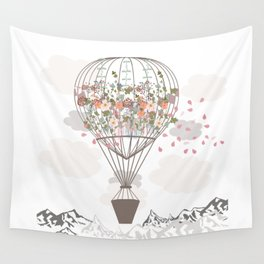 Air balloon with flowers and mountains. Fashion tripping illustration in vintage style Wall Tapestry