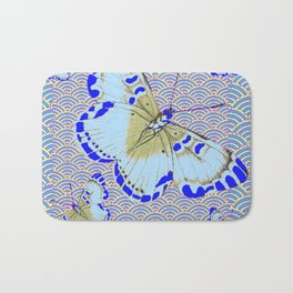 ORIENTAL STYLE BLUE-WHITE EXOTIC BUTTERFLY BLUE ART Bath Mat