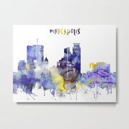 Colorful watercolor Minneapolis skyline Metal Print