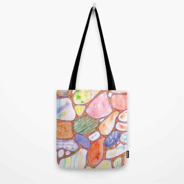 Friendly Colorful Pebbles Pattern Tote Bag