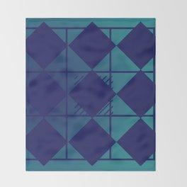 Blue,Diamond Shapes,Square Throw Blanket