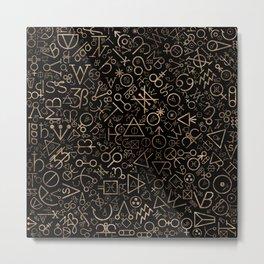 Alchemy symbols and Astrological symbols pattern #2 Metal Print