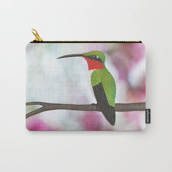 ruby throated hummingbird - male on pink bokeh Carry-All Pouch