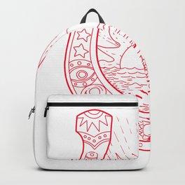Good Luck Horseshoe Sun Sea Drawing Backpack
