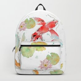 "Watercolor Painting of Picture ""Koi Pond"" Backpack"