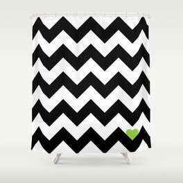 Heart & Chevron - Black/Green Shower Curtain