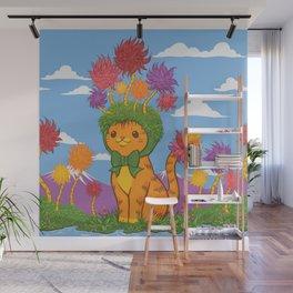 Orange Cat Wears Fluffy Tree Hat Wall Mural