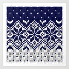 Winter knitted pattern 9 Art Print