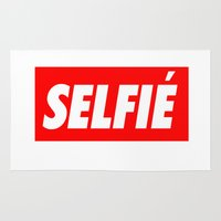 selfie Area & Throw Rugs featuring Selfie by Poppo Inc.