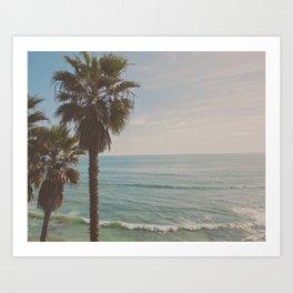 palm tree and ocean. California Vacation Art Print