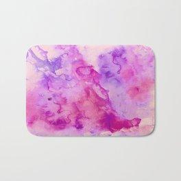 Modern abstract pink purple watercolor wash paint Bath Mat