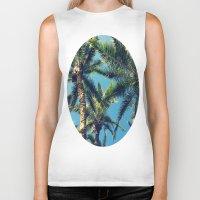 palm tree Biker Tanks featuring Palm Tree by Jillian Stanton