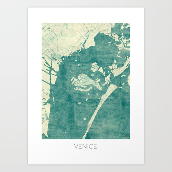 Venice Map Blue Vintage Art Print