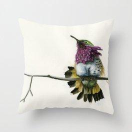 Hummingbird on a branch Throw Pillow