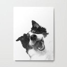 Black and White Happy Dog Metal Print