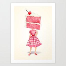 Cake Head Pin-Up - Cherry Art Print