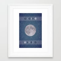 moon phase Framed Art Prints featuring Geometric Moon Phase by Moonbeam