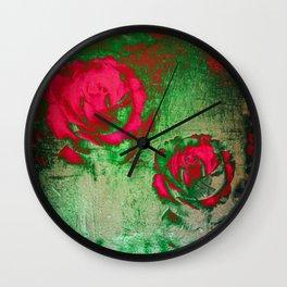 Morning Magenta Roses on Vintage Canvas Wall Clock