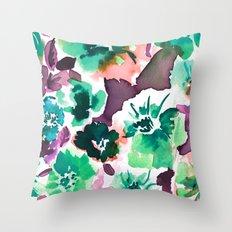 Zoe Floral Sea Green Throw Pillow