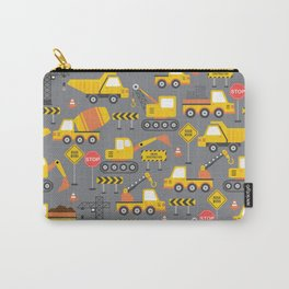 Construction Vehicles Gray Pattern Carry-All Pouch