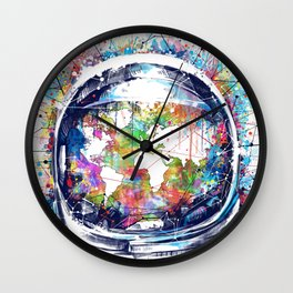 astronaut world map colorful Wall Clock