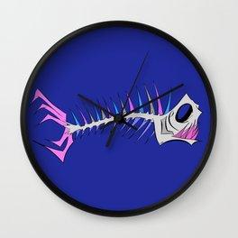 Skeleton Fish Bones in Vibrant colors Wall Clock