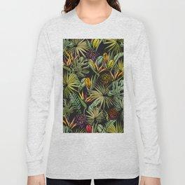 Tropical pattern on black Long Sleeve T-shirt