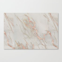 Marble - Rose Gold Marble Metallic Blush Pink Canvas Print