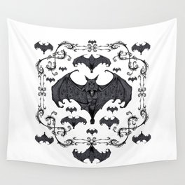 Bats and Filigree - Black and White Wall Tapestry