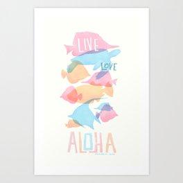 Pink fish Aloha Art Print