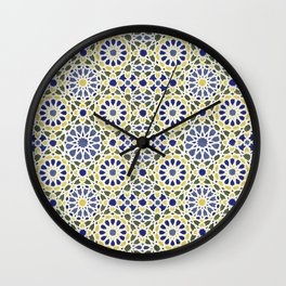 Middle Eastern Tile Pattern in Blue and Yellow #2 Wall Clock