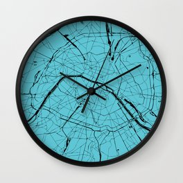 Paris France Minimal Street Map - Turquoise on Black Wall Clock